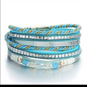 Blue and Silver Leather Cuff